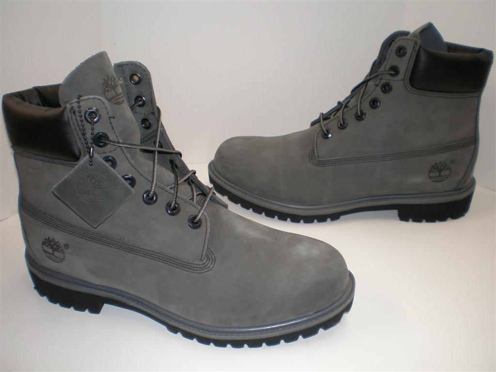 nib mens timberland 6 inch premium boots 71596 grey gray. Black Bedroom Furniture Sets. Home Design Ideas